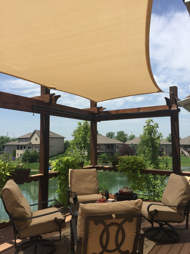 Shade Sail and Pergola, with Glass Balusters